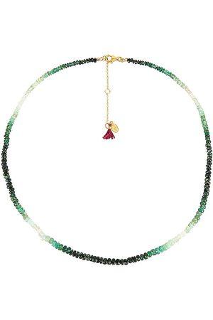 SHASHI Aisha Necklace & Wrap in Metallic Gold,Green.