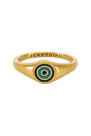 Jenny Bird Evil Eye Signet Ring in Metallic .