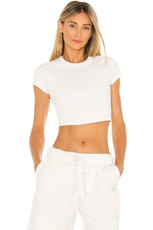 alo Ribbed Short Sleeve Top in Ivory.