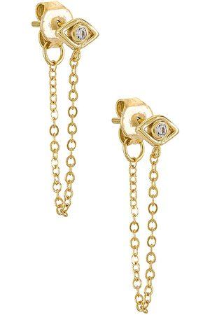 SHASHI Violet Chain Earrings in Metallic .