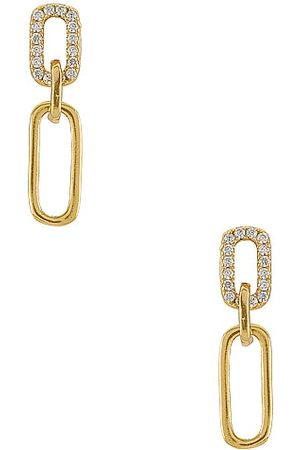 SHASHI Justice Pave Earrings in Metallic .