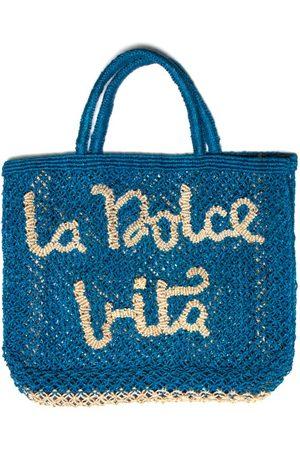 The Jacksons La Dolce Vita Jute Bag Cobalt Blue