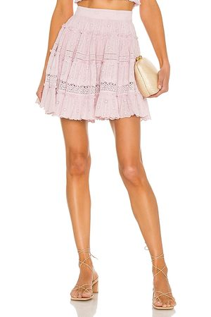 HEMANT AND NANDITA Sahar Tiered Mini Skirt in Lavender.