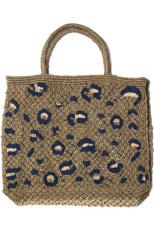 The Jacksons Leopard Print Bag Khaki, Natural & Indigo