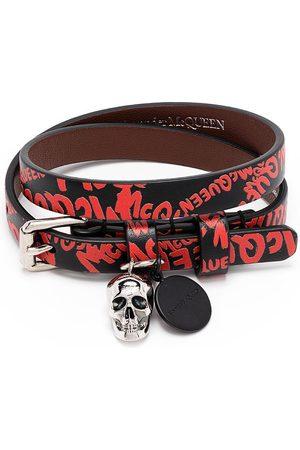 Alexander McQueen Men Bracelets - Skull Graffiti Print Bracelet /Red