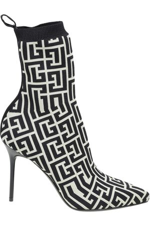 Balmain Women Ankle Boots - Ankle boots in stretch fabric with monogram