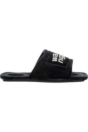 Alexander Wang Lana padded velour crystal logo slippers