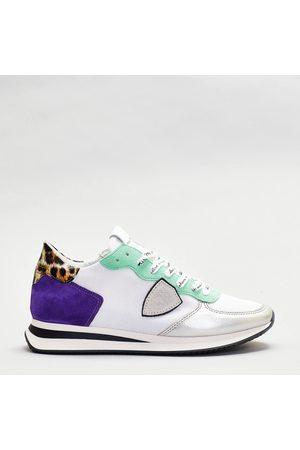 Philippe model Women Running - Sneakers running dettaglio viola e animallier - Bianco