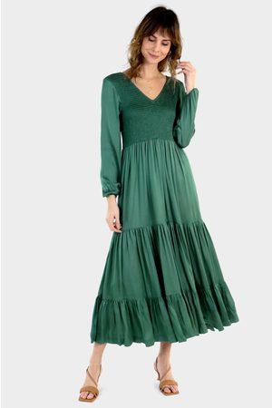 Fleur Satin Shirred Long Midi Dress Olive