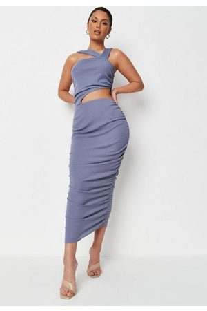 Missguided Petite Rib Asymmetric Strap Ruched Cut Out Midaxi Dress