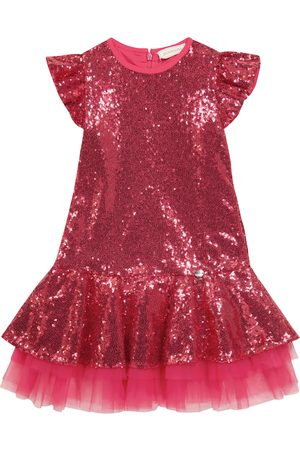 MONNALISA Baby Dresses - Tulle-trimmed sequined dress