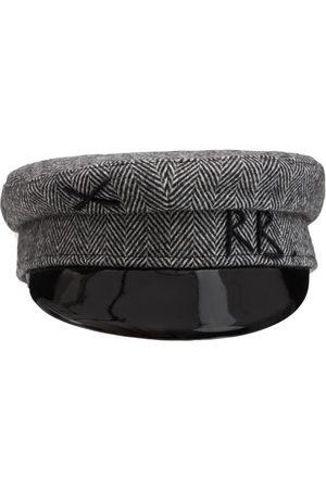 Ruslan Baginskiy Monogram Embroidered Wool Baker Boy Cap