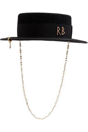 Ruslan Baginskiy Women Hats - Pearl-embellished Felted Canotier Hat