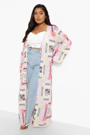 Boohoo Womens Plus Butterfly Scarf Print Kimono - - 12