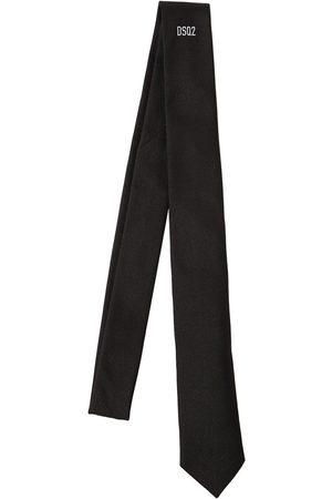 DSQUARED2 5cm Mini Logo Print Silk Tie