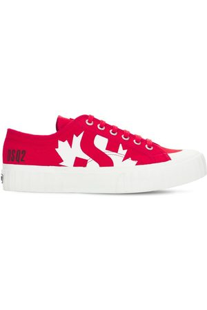 Dsquared2 Printed Cotton Canvas Lace-up Sneakers