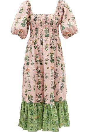 Rhode Women Printed Dresses - Eloise shirred floral-print cotton-poplin dress