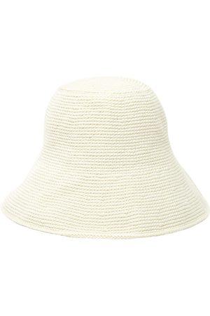 Soraya Hennessy White Crochet Bucket Hat