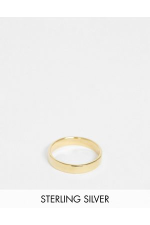 ASOS DESIGN Sterling silver band ring in 14k plate