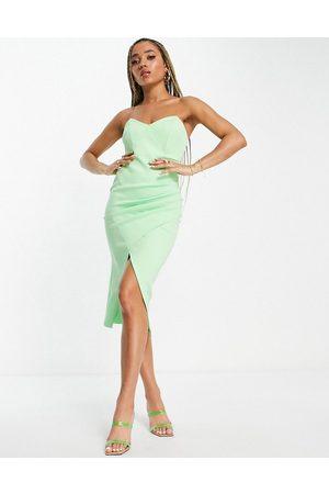 ASOS Bandeau wrap tuck midi dress in apple green-Multi