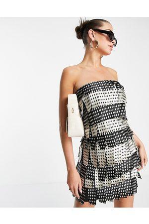 ASOS Women Party Dresses - Mono layered satin bandeau mini dress-Multi