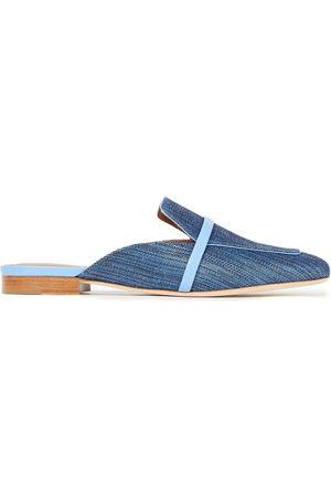 MALONE SOULIERS Women Slippers - Woman Jada Leather-trimmed Raffia Slippers Size 36