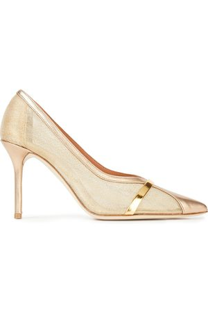 MALONE SOULIERS Women Heeled Pumps - Woman Brook 85 Metallic Leather And Mesh Pumps Size 35.5