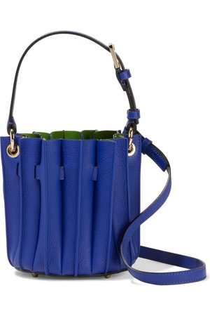 SARA BATTAGLIA Women Purses - Woman Plissé Mini Textured-leather Bucket Bag Indigo Size