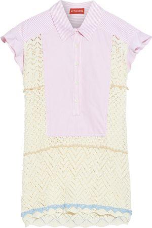 Altuzarra Women Short sleeves - Woman Batten Striped Cotton-poplin And Crochet-knit Shirt Ivory Size 44