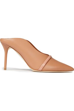 MALONE SOULIERS Women Heeled Pumps - Woman Constance 85 Patent-trimmed Leather Mules Antique Rose Size 35.5