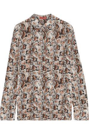 Altuzarra Woman Chika Snake-print Silk Crepe De Chine Shirt Mushroom Size 38