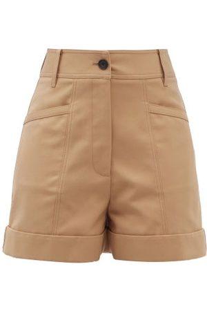 Victoria Beckham High-rise Cotton-blend Wide-leg Shorts - Womens