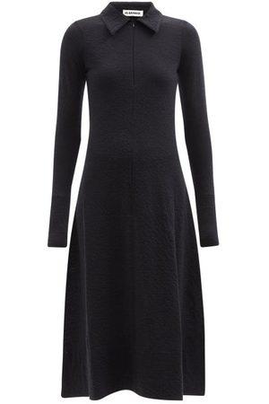 Jil Sander Women Midi Dresses - Zip-front Wool-blend Midi Dress - Womens