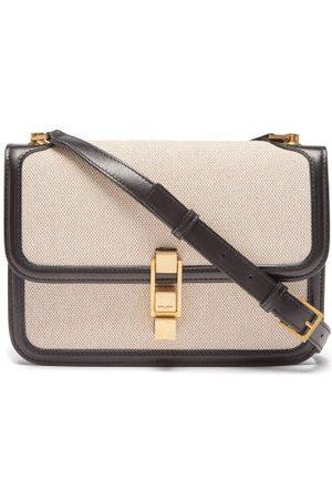 Saint Laurent Carré Medium Leather-trim Canvas Shoulder Bag - Womens