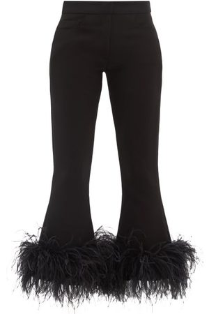16Arlington Romi Feather-trim Cropped Crepe Trousers - Womens
