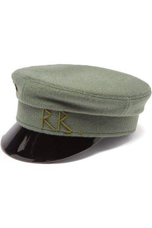 Ruslan Baginskiy Vinyl-brim Logo-plaque Felt Baker Boy Cap - Womens