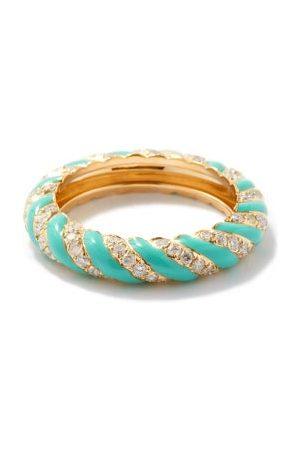 YVONNE LÉON Diamond, Turquoise & 9kt Gold Ring - Womens