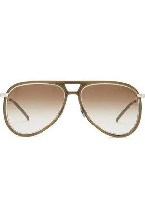 Saint Laurent Aviator Acetate And Metal Sunglasses - Mens - Dark