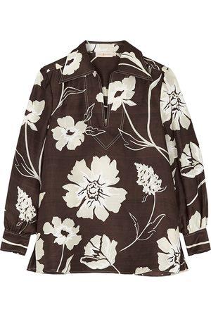 Tory Burch Floral-print silk tunic top