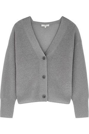 Vince Women Cardigans - Grey fine-knit mohair-blend cardigan