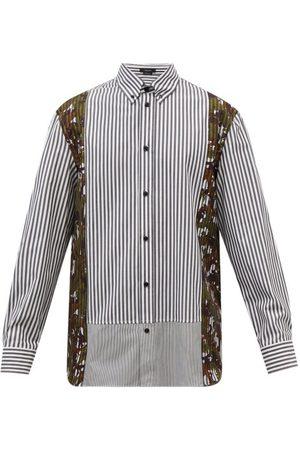 Versace Acanthus-print Striped Cotton-oxford Shirt - Mens - Multi