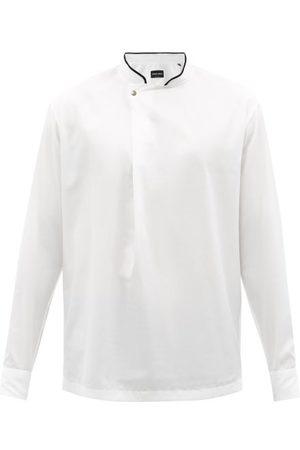 Armani Asymmetric-placket Cotton-blend Twill Shirt - Mens