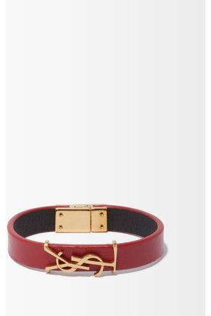 Saint Laurent Ysl Leather Bracelet - Womens