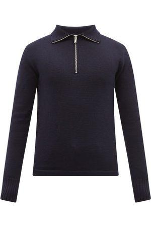Jil Sander Zipped High-neck Wool Sweater - Mens - Navy