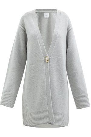 GALVAN Pearl-embellished Wool-blend Cardigan - Womens - Light Grey