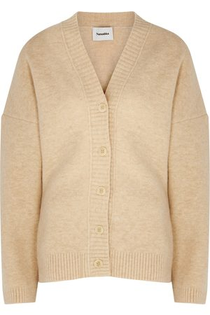 Nanushka Fara sand belted knitted cardigan