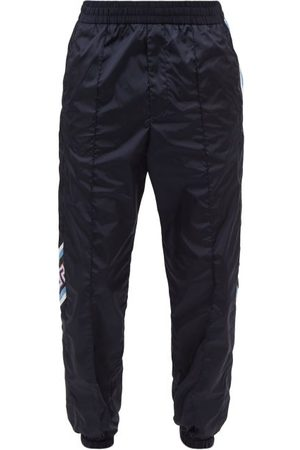 VERSACE Men Sweatpants - Greco-meander And Striped Shell Track Pants - Mens - Navy