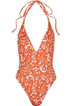 RIXO London Kristen orange printed swimsuit