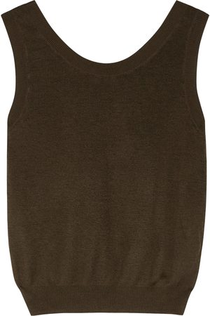 The Row Cervia olive linen and cashmere-blend tank