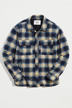 BDG Brushed Plaid Quilted Shirt Jacket